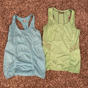 Athleta Blue and Green Workout Tank Tops